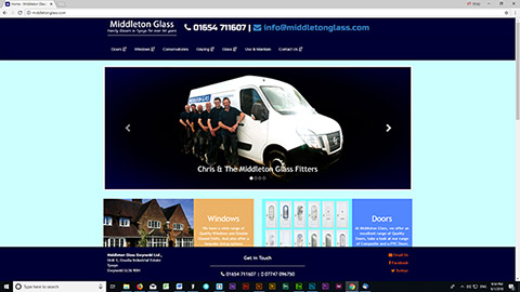 Middleton Glass website produced by TSC Designs.co.uk